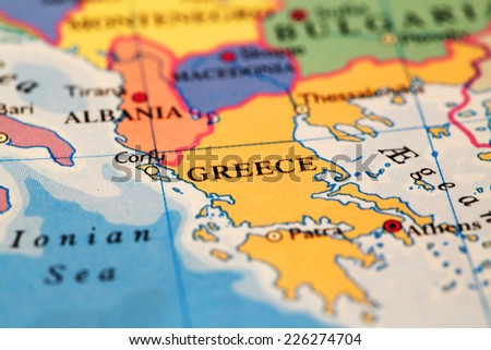 Greece On Atlas World Map Stock Photo (Royalty Free) 226274704 ...