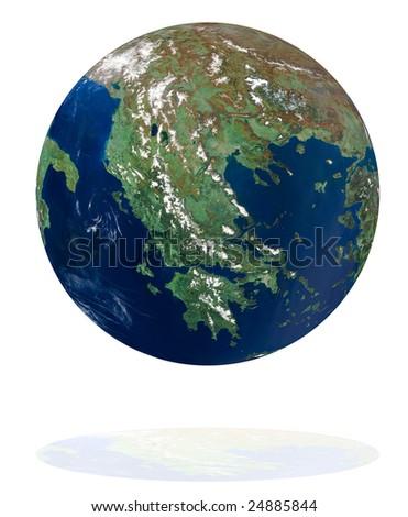 Greece on the Earth planet. Data source: Nasa - stock photo