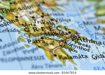 Greece on the map. - stock photo