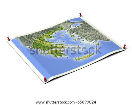 Greece on unfolded map sheet with thumbtacks. Map colored according to vegetation, with borders and major urban areas. Includes clip path for the background.