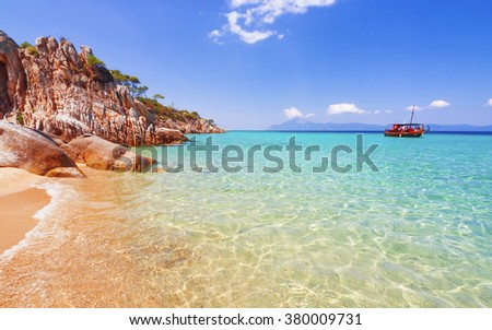 Greece paradise wild beach, untouched unique nature archipelago on peninsula Chalkidiki, Halkidiki, Greece,  Sithonia, Atos, Kassandra. Relaxation landscape coastline pine tree for postcard calendar - stock photo