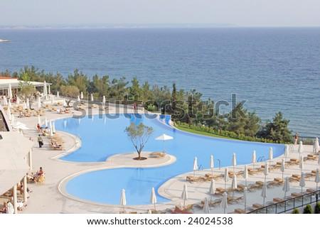 greece  pool - stock photo