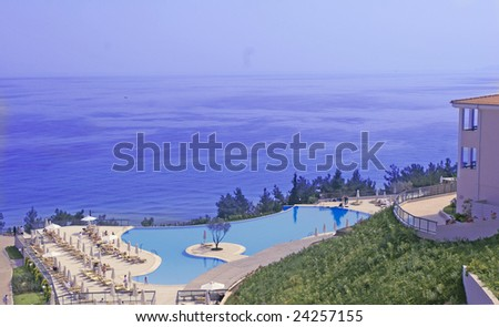 greece pool sea - stock photo