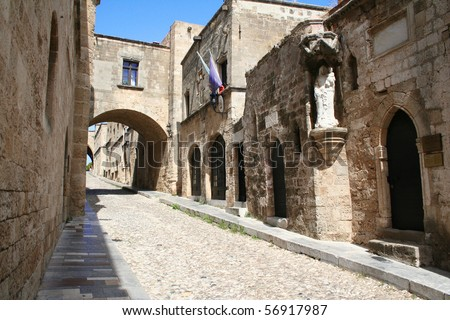 Greece. Rhodos island. Old Rhodos town. Street of the Knights (Now Embassy street) - stock photo