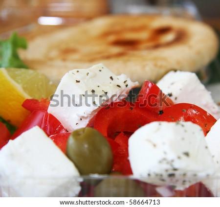 Greece salad close-up - stock photo