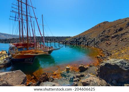 Greece Santorini Island cruise Ship on volcano island - stock photo