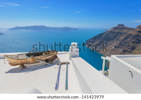 Greece Santorini island in Cyclades,  beautiful and colorful wide view of the sea of caldera by volcano