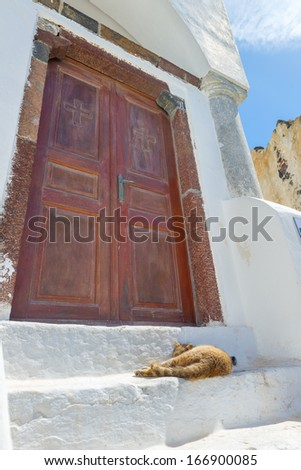 Greece Santorini island in cyclades colorful view of wooden door frame with a cat resting on steps - stock photo