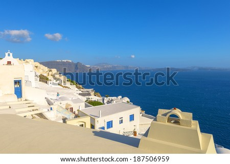 Greece Santorini island in Cyclades, panoramic seascape view from fira at a sunny summer day