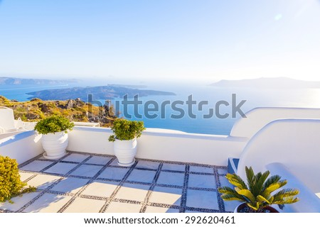 Greece Santorini island, sea view from balcony