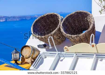 Greece Santorini wooden traditional boxes - stock photo