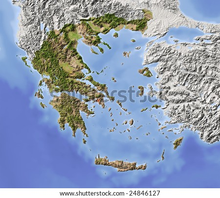 Greece. Shaded relief map with major urban areas. Surrounding territory greyed out. Colored according to vegetation. Includes clip path for the state area. - stock photo