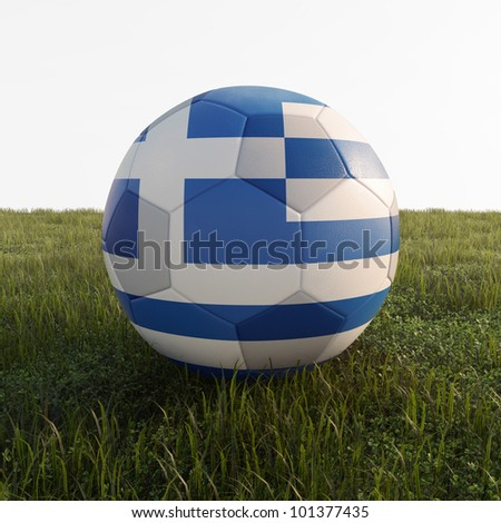 greece soccer ball isolated on grass - stock photo