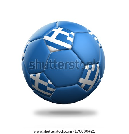 Greece soccer ball isolated white background