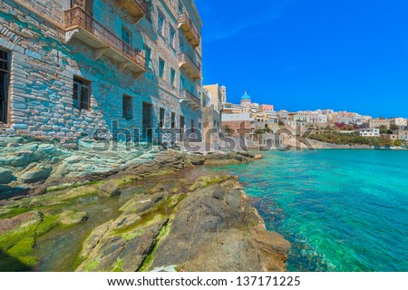 Greece Syros island artistic view of main capitol, also known as little venice at summer time, Syros is located in Cyclades