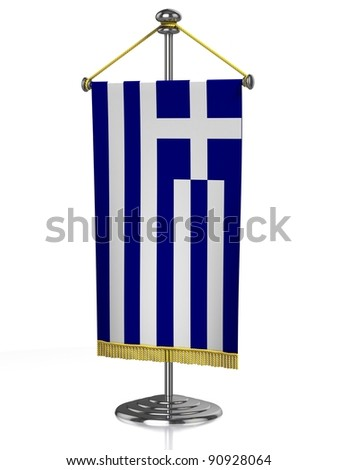 Greece table flag isolated on white - stock photo