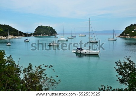 Greece, the island of Paxos - view of the port of Lakka