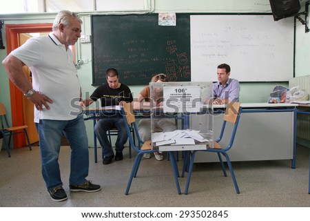 GREECE, Thessaloniki JULY 5, 2015: Greek crisis. Greeks are voting at polling stations all around the country in a crucial referendum to decide whether to accept the creditorsâ?? terms or not.