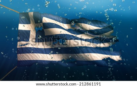 Greece Under Water Sea Flag National Torn Bubble 3D - stock photo