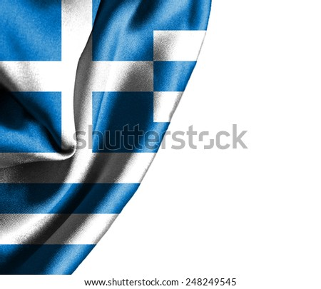 Greece waving silky flag isolated on white background