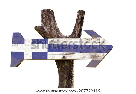 Greece wooden sign isolated on white background - stock photo