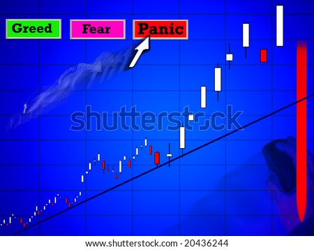 Greed fear and panic market trading - stock photo