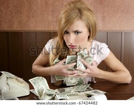 greed money retro beautiful woman office vintage accountant - stock photo