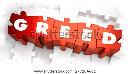 Greed - Text on Red Puzzles with White Background. 3D Render.  - stock photo