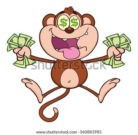 Greedy Monkey Cartoon Character Jumping With Cash Money and Dollar Eyes. Raster Illustration Isolated On White - stock photo