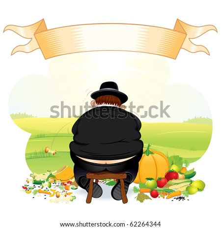 Greedy Pilgrim caricature eating thanksgiving crop - stock photo