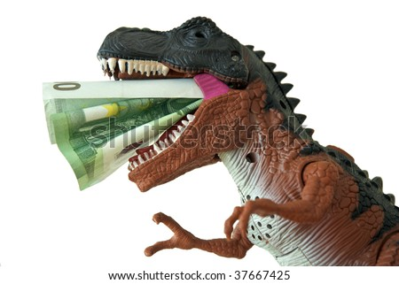 Greedy T-Rex eating money - stock photo
