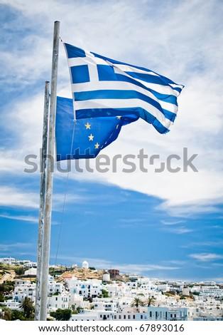 Greek and EU Flags - stock photo