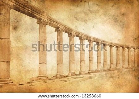 Greek and roman style architecture with columns in Jerash, Jordan on grunge parchment paper background - stock photo
