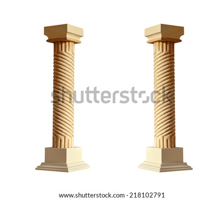 Greek architectural column isolated on white background - stock photo