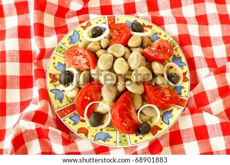 Greek broad bean salad - stock photo