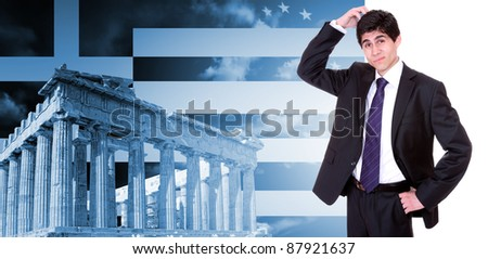 Greek business man with the Parthenon in Acropolis, Athens Greece and Greek flag - stock photo