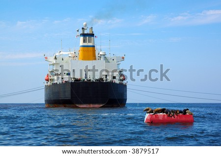 Greek Cargo Ship Anchored in U.S. Waters - stock photo