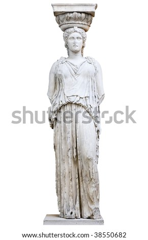Greek Caryatid or column in a female form - stock photo