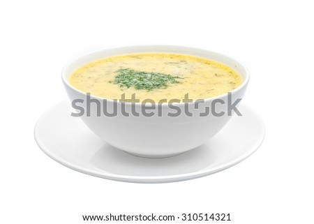 Greek chicken soup in a bowl isolated on white / Greek chicken soup isolated / Greek chicken soup with herbs - stock photo