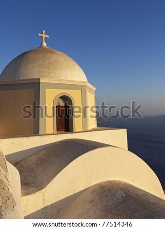 Greek Church in warm sunlight, Santorini, Greece, Europe - stock photo
