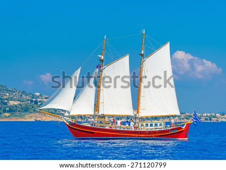 Greek classic sailing boat in Spetses island in Greece - stock photo
