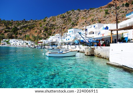 Greek coastline village of Loutro in southern Crete - stock photo