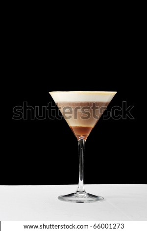 Greek cold coffee - frappe  in a tall glass - stock photo