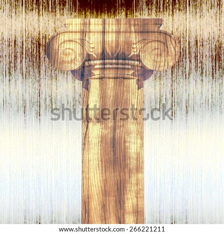 Greek column against a metal background. - stock photo
