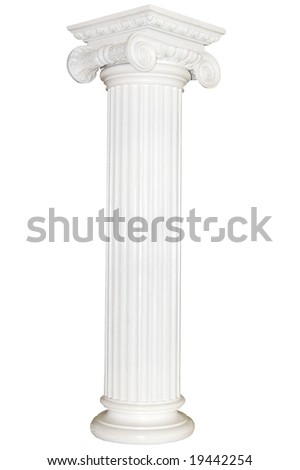 Greek column, isolated on white - stock photo