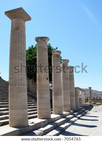 greek columns in the temple of apollo in lindos rhodes greece.