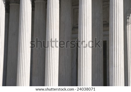 Greek columns of the United States Supreme Court Building in Washington DC - stock photo