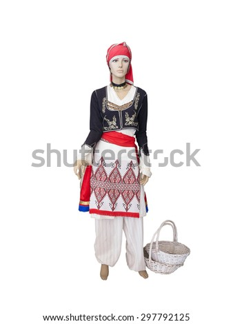 Greek cretan national woman clothes costume on mannequin isolated over white background - stock photo