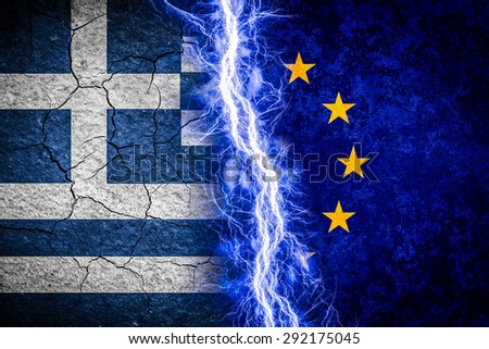 Greek crisis concept illustration. Greek and Eu flags divided by lightning - stock photo