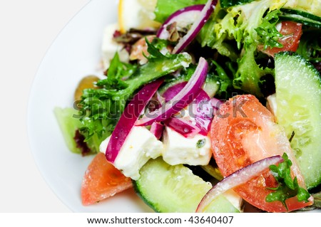 Greek Feta Salad on white plate